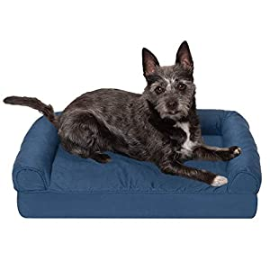 Furhaven Pet Dog Bed – Orthopedic Quilted Traditional Sofa-Style Living Room Couch Pet Bed with Removable Cover for Dogs and Cats, Navy, Small