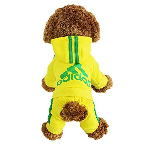 LifeWheel 4 Benen Katoen Huisdier Kat Hond Hoodies Kleding Jumpsuit Puppy Jas Pullover Bovenkleding Kostuum, XXL, Geel