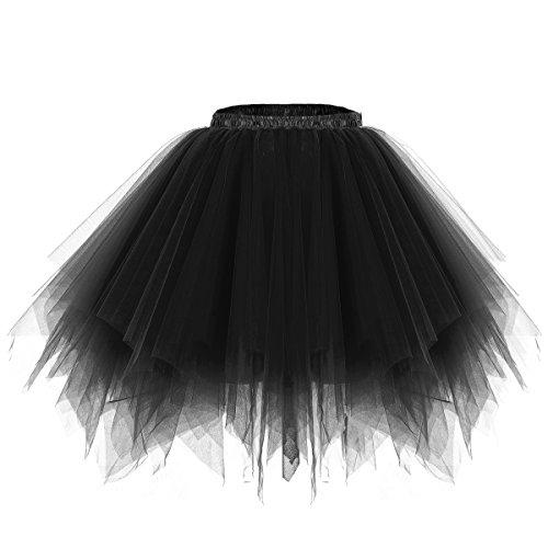 bridesmay Tutu Damenrock Tüllrock 50er Kurz Ballet Tanzkleid Unterkleid Cosplay Crinoline Petticoat für Rockabilly Kleid Black S