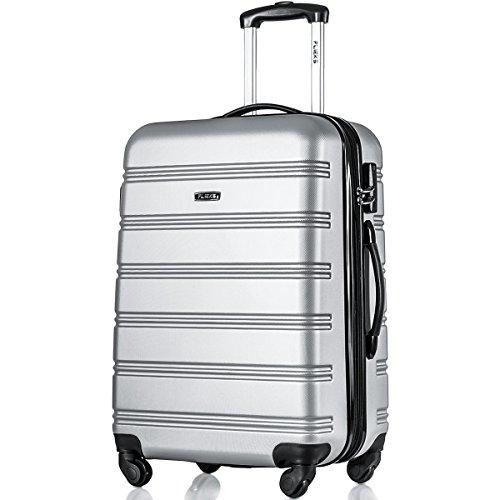 Flieks Reisekoffer ABS Hartschalen-Koffer Trolley Handgepäck Rollkoffer mit 4 Rollen, 38 Liter, 57x35x23cm, Silber M