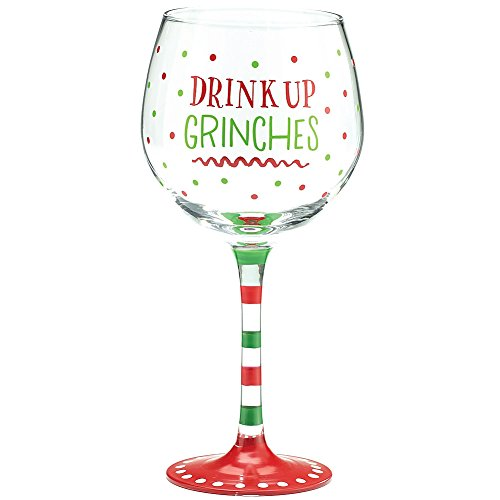 Burton and Burton Holiday Wine Glass Drink Up Grinches, 20 oz.