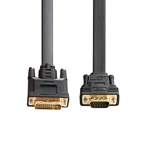 Baolongking DVI attivo a VGA, DVI 24+1 DVI-D M a VGA maschio con chip piatto cavo adattatore convertitore per PC DVD Monitor HDTV 2M