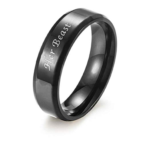 Beast Beauty Engraved Couple Rings His Her Promise Couple Rings Gift Girlfriend Boyfriend Birthday Black Silver Titanium Steel