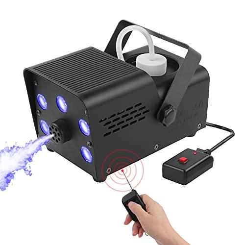 Máquina de Humo, Máquina de Humo LED UKing con Aviso Para Completar el Calentamiento, Control Remoto Dual de 550 Vatios Estable y Portátil, Adecuado Para Fiestas, Navidad, Celebraciones de Bodas