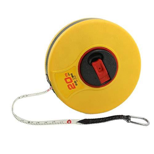 X-DREE 20M Cubierta de plástico amarilla que mide la línea de cinta retráctil de cinta de PU (PU blanc jaune coque en plastique rétractable ruban à mesurer règle 20 m