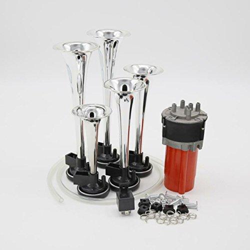 Bocina de aire YIDA 12 V 150 dB, 5 bocinas musicales de cromo cinc para coche, relé automotriz, bocina de aire con compresor para cualquier vehículo de 12 V, camiones, trenes, barcos, coches, furgonetas