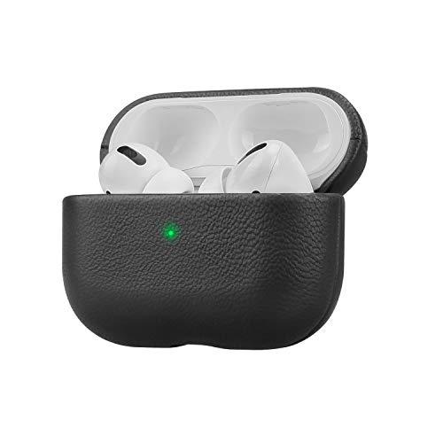Fooyin Handmade Series Custodia in pelle per AirPods Pro, Protettiva Cover (vera pelle di pecora) Antiurto Case Compatibile con Apple AirPods Pro, Nero