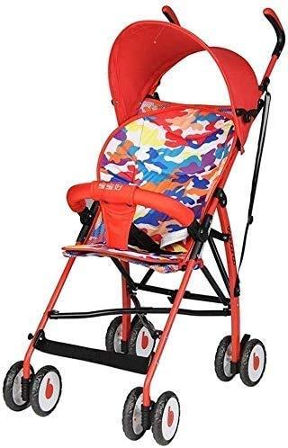 Cxjff Sentado Cochecito de bebé, Paraguas Horizontal Choque portátil Plegable absorbedor bebé recién Nacido Cuatro Estaciones Universal de Viaje Ultraligero (Color : Red)
