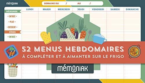 Bloc de 52 menus hebdomadaires à compléter Mémoniak 2022