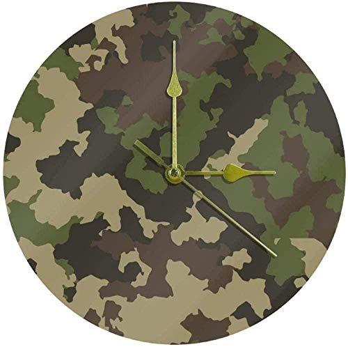 Reloj de Pared Grande Reloj de Cocina Sala de Estar Dormitorio Oficina Baño Reloj de Pared Reloj para niños Cuarzo silencioso Sin tictac Reloj Colgante con Pilas 25Cm - Camuflaje Verde Militar