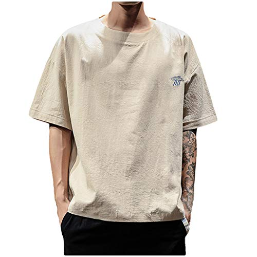 Lässiges Herren-T-Shirt routinfly Uni- Kurzarmhemden aus Leinen und Baumwolle Loses Kurzarmhemd Besticktes O-Neck-T-Shirt M-5XL