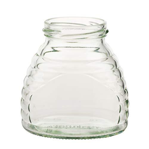 3 oz. Glass Skep Jar for Honey 24 ct. w/metal lids - choose design (Gold)