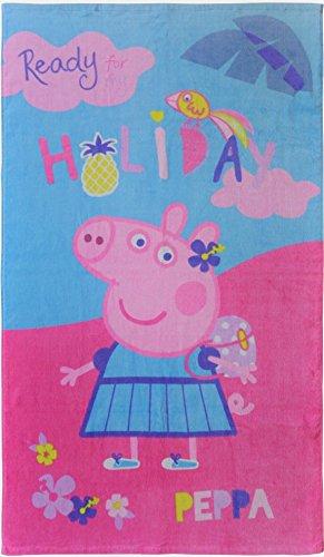 Toalla de playa PEPPA PIG Holiday de Pepa, rosa, azul, 70 x 120 cm, 100% algodón