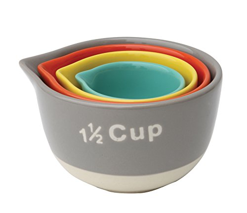 Set of Four Colorful Two Tone Stoneware Nesting Measuring Cups