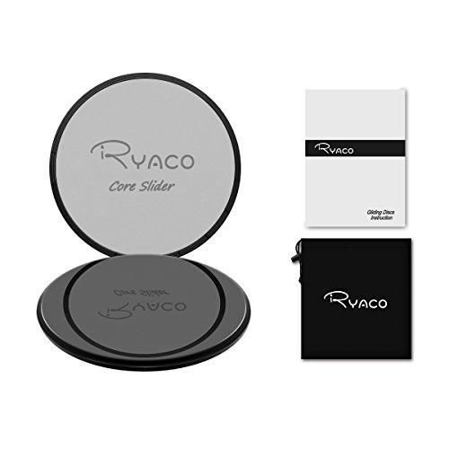 Ryaco 2X Discos Deslizantes para Fitness Abdominales con Bolsa de Transporte –Discos Doble Cara Deslizantes para Hogar, Yoga, Fitness, Pilates, Ejercicios de Cuerpo – Moquetas y Solería, Negro & Gris