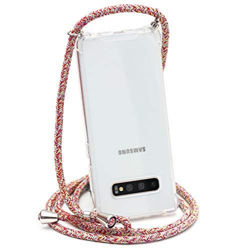 ZhuoFan Funda con Cuerda para Samsung Galaxy J5 2017, Cárcasa Silicona Airbag Transparente con Colgante Ajustable Collar de Cuello Cadena Cordón Case Fundas Colgar para Samsung J5 2017, 12