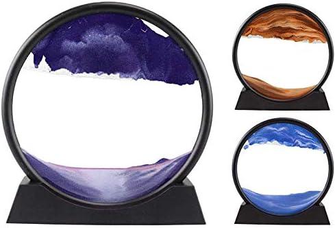 Violet Nrpfell Sablier dart dimage de Sable de Paysage Naturel Dynamique 3D Peinture Color/éE Ronde en Verre Transparent