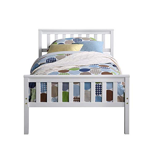 DOOMMY Twin Bed with Trundle,White