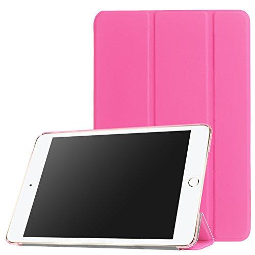 【PCATEC】 iPad mini1/2/3 用 PUレザーケース 三つ折スマートカバー☆超薄 軽量型 スタンド機能 PUレザーケース (ピンク)