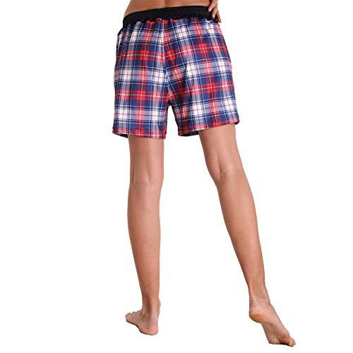 MEITING Shorts Damen Kurze Hose Einfarbig Shorts Schlafanzughose Schlafhose Blume Drucken Sporthose Beiläufige Elastische Shorts mit Taschen Sommer Traininghose Sweathose Jogginghose Freizeithose
