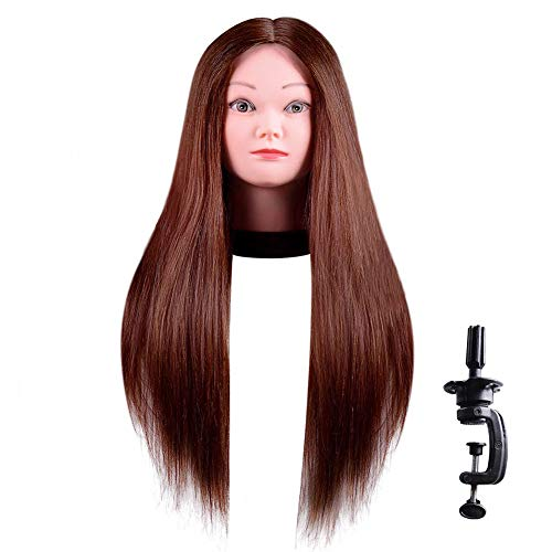 """Mannequin Head 100% Human Hair Training Head 18""""-24"""" Hairdresser Manikin Head Cosmetology Doll Head for Hair Styling and Braid with Free Clamp"""