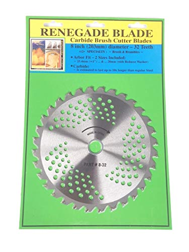 """Renegade Blade 1 Blade 8""""-32t - Brush & Brambles Specialty GS1 Barcoded Shelf Hanging Blister Pack - Carbide Brush Cutter Weed Eater Blades, 203mm Diameter"""