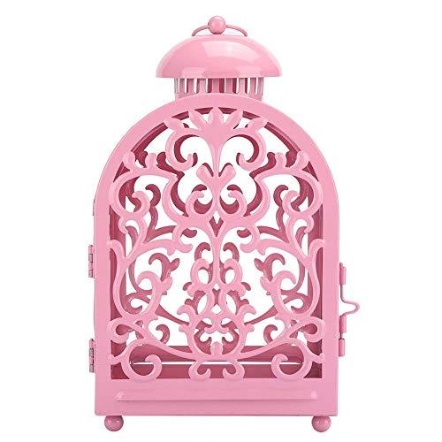 Huishoudelijke Retro holle ijzeren kandelaar Vintage kandelaar Ornament voor Home Party decoratie, holle kandelaar(Roze)