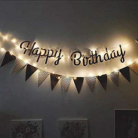 Party Propz LED Happy Birthday Banner with Flag Sign Exclusive for Kids; Boys; Girls; Adult; 30th; 40th; 50th; 60th; Quarantine Celebration; Black Gold Decor; Balloon Supplies Premium Product