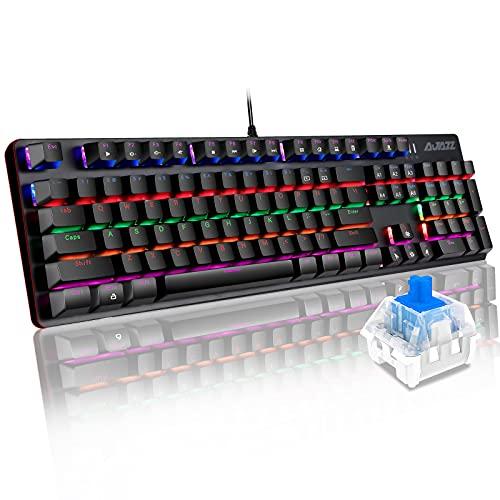Mechanische Tastatur Gaming Blau Schalter 104 Taste, Kabelgebundene Tastatur AJAZZ AK33 Pro QWERTY-Tastatur 32 Modi Beleuchtung Anti-Ghosting 100% Mechanische Gaming Tastatur-Schwar