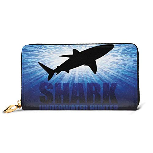 Women's Long Leather Card Holder Purse Zipper Buckle Elegant Clutch Wallet, Underwater Hunter Phrase Fish Silhouette in The Ocean Danger in Marine Picture,Sleek and Slim Travel Purse