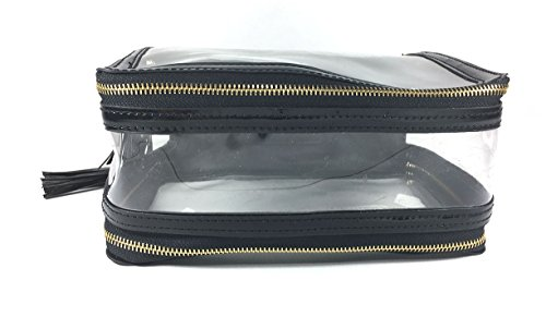 4 Autumn Pro Double Zippers Travel Clear Makeup Bag (black)