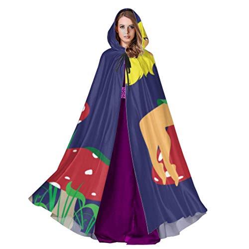 QuqUshop Nette Fee, die auf dem Mantel-Kap-Mädchen-Mantel der Pilz-Frauen mit der Haube 59inch für Weihnachtshalloween-Cosplay-Kostüme sitzt