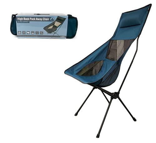 Ultraleichter Klappstuhl mit hoher Rückenlehne, mit Kopfstütze und Tragetasche, tragbar, kompakt für Outdoor-Camping, Reisen, Picknick, Festival, Wandern, Rucksackreisen (Indigoblau)