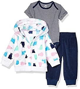 Amazon Essentials 3-Piece Microfleece Hoodie Set Infant-and-Toddler-Pants-Clothing-Sets, Gato, Recién nacido