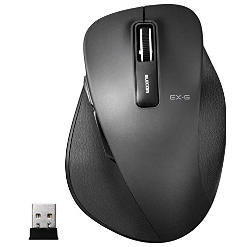 Elecom M-XGL10DBBK Mouse Wireless (Receiver Included) Large 5 Buttons (Equipped with Backward and Forward Buttons), BlueLED Grip Extreme, Black