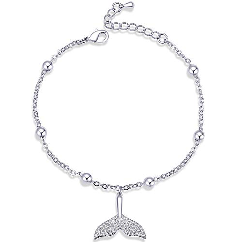YooAi Bracelet Réglable Strass Cheville Bracelet Baleine Sirène Queue Amour Alphabet Bracelet Argent Queue