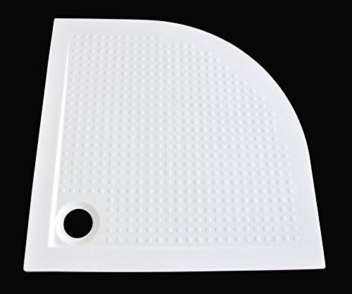 Art-of-Baan® - Superflache Duschtasse Duschwanne 90 x 90 Komplett Set Viertelkreis Kratz und rutschfest Antirutsch Weiß; 90x90 Höhe 3,5cm inkl. Ablaufgarnitur