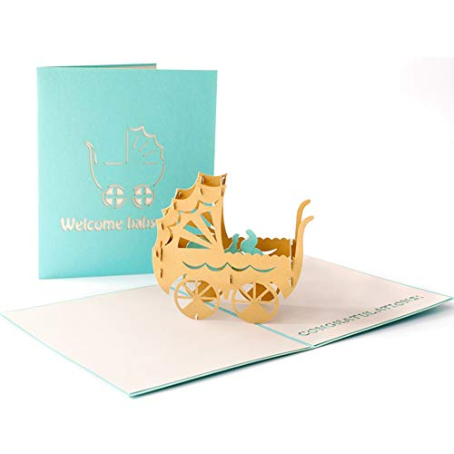HUNGER Handmade 3D Pop Up Congrats Greeting Cards for Newborn Babies Girl Gifts New Parents (Baby...