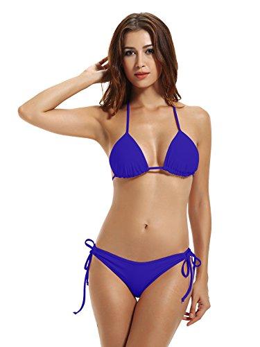 zeraca Women's Tie Side Bottom Triangle Bikinis Bathing Suits (L14, Smouldering Navy)