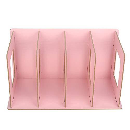 Estantería de escritorio - Estantería de escritorio de bricolaje de madera Estante de libros Almacenamiento de DVD Revista para estudiantes Niños Adultos(Rosa)