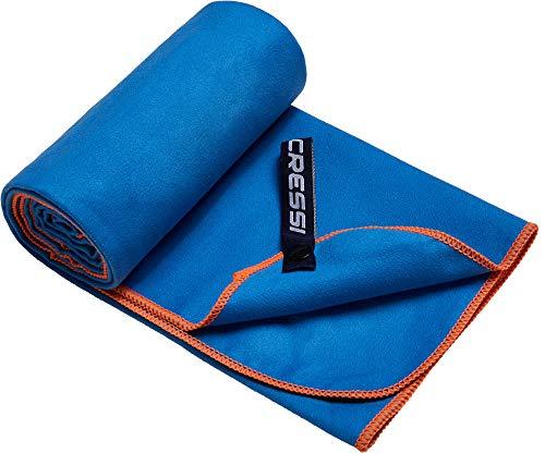 Cressi Microfibre Fast Drying Toalla Sport, Unisex Adulto, Azul/Naranja, 90x180cm