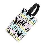 Etiqueta de equipaje duradera para mujer, etiquetas identificadoras de bolsa con cubierta de privacidad, accesorios de etiqueta de viaje para maleta, avión, mochilas, verano tropical con palma