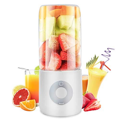 Mezclador de Frutas Eléctrico con 6 Cuchillas 3D y Vaso Exprimidor de 400 ml, Blanco