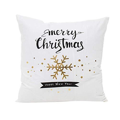 HAODEE Fundas de Almohada de Navidad, Funda de Almohada de impresión de lámina de Oro Funda de Almohada de sofá a la Cintura Funda de cojín Funda de Almohada D