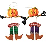 AIPINQI Scarecrow Fall Hanging Decor, 2 Pack Pumpkin Fall Harvest Scarecrow for Decor Door Wall Ornaments Halloween Scarecrow Decorations for Garden, Home, School, Yard, Porch, Thanksgiving Decor