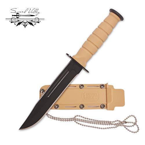 Sword Valley Mini benutzerdefinierte scharfe Jagdmesser,Einhandmesser,handgefertigte braune Tasche Jagdmesser, Outdoor Survival Messer,Schwarz Edelstahlklinge, für Arbeit Wandern Camping