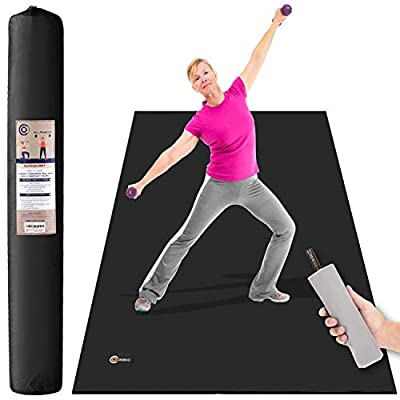"""CAMBIVO Large Exercise Mat, 6' x 4' x 1/4"""" Non-Slip and Solid Workout Mats for Home Gym Flooring - Plyo, MMA, Jump, Cardio Mat (Shoes Friendly, 72"""" Long x 48"""" Wide x 7mm Thick)"""
