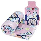 Manta Polar y Bolsa de Agua Caliente, Pack de Minnie Mouse – Manta Infantil...