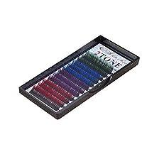 まつげエクステ 太さ0.10mm(カール色長さ指定) グラデーションマツエク 色ごとに3列 12列タイプ 2ケース入り (0.10 B 12mm、グリーン・ブルー・バイオレット・レッド)