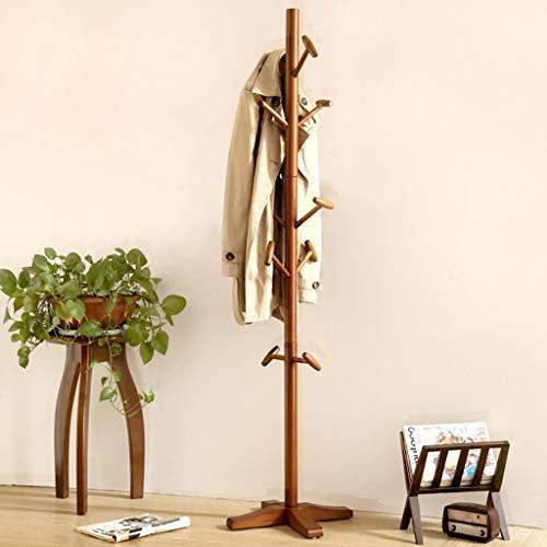 LWW Kleiderbügel, Kleiderständer, Woody Stand Dreidimensionaler Garderobe Wohnzimmer Schlafzimmer mit einfacher moderner Aufhänger zusammenbauen die Kleiderstange,Braun